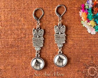 Charming Owl Earring Making Kit - Antique Silver Owls with Cabochon Settings