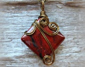 Red Jasper Wire Wrapped Pendant Necklace in Antique Bronze