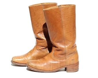 FRYE Men's Vintage Cognac Sniffer Brown Leather Boots / size 12D