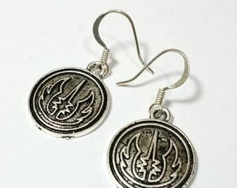 Jedi Logo Star Wars Silver Dangle Earrings