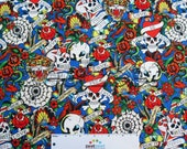 "Tiger Skull Blue Ed HARDY TATTOO Art Artist ""Love is True"" Cotton Quilt Fabric - by the Yard Rockabilly Goth Skulls Roses Hearts"