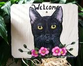 Black Cat Garden Welcome Slate