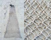 vintage hand tied fishing net bag / creel