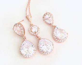 Rose Gold Rhinestone Pendant Necklace and earrings, Bridal Earrings, Pink Gold, Wedding Necklace, Rose Gold Bridal Jewelry Set, Weddings