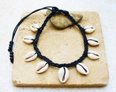 Traditional Black Braided Cowrie Shell  Necklace with Shiny Cowrie Shells