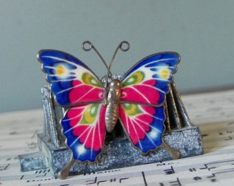 Vintage enamel over metal butterfly pin brooch articulated royal blue pink green white gold