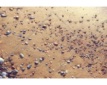 Canvas Photo Print of Small Colored Stones on Golden Sand in Sunlight, Zen Beach Themed Wrapped Canvas Wall Art