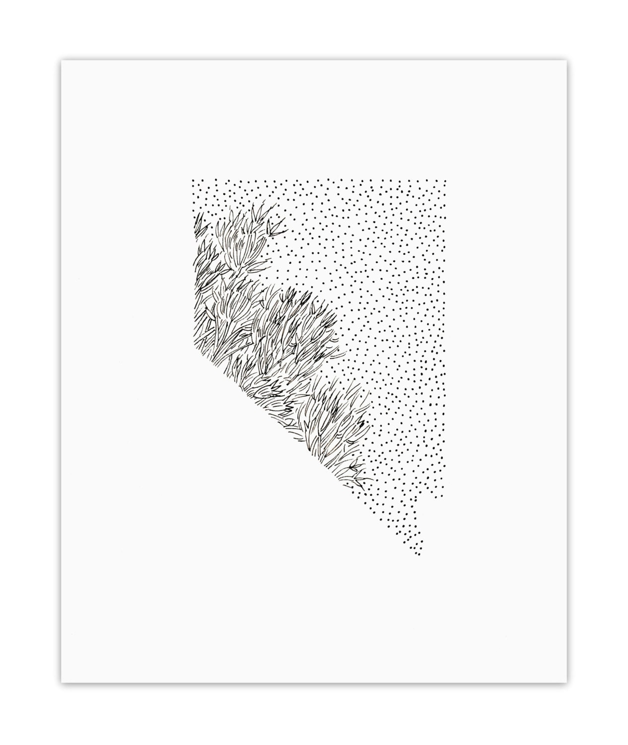 Nevada Sagebrush State Flower Drawing Giclee Print