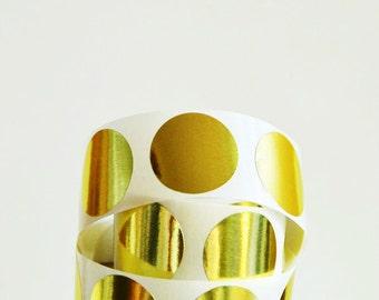 Gold Foil Stickers | Round 1.0in Yellow Gold | Round Gold Stickers | Gold Foil Seals | Engagement Seals | Wedding Seals | Invitation Seals