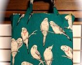 Teal Pen and Ink Parakeets / Budgies / Cockatoo / Birds  TIGHT 'N' TIDY Tote Bag Reusable Shopping Bag