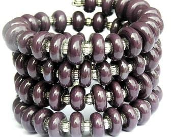 Dark Purple Bracelet - Triple Wrap Bracelet - Purple Wrap Bracelet - Modern Purple Bracelet - Purple Statement Bracelet - Chunky Bracelet