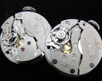 Vintage Antique Round Watch Movements Steampunk Altered Art Assemblage TM 77