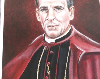 "Venerable Fulton J. Sheen Archbishop 8"" X 10"" Print on White Card Stock, taken from my Acrylic Painting, Catholic Art,"