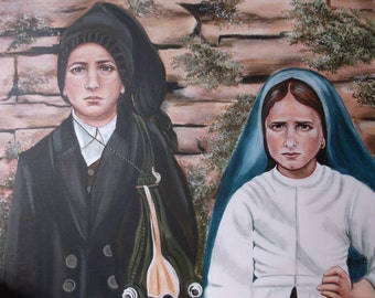"Sts. Jacinta and Francisco Marto Our Lady of Fatima Portugal Rosary Original on Canvas OOAK Acrylic Painting, 16"" X 20"" Catholic Art, signed"