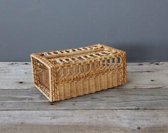 Vintage Rattan Tissue Box Holder