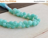 Clearance SALE Amazonite Gemstone Faceted Onion Briolette Blue Aqua 8mm 25 beads