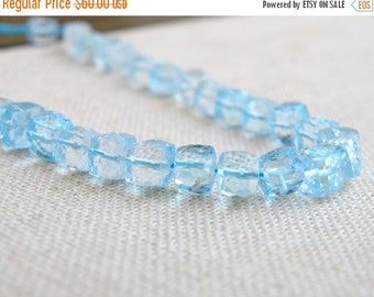 Clearance SALE Sky Blue Topaz Gemstone Faceted Cube 6mm 15 beads Wholesale
