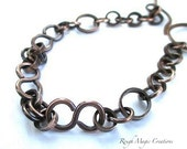 Rustic Antique Copper Bracelet, Chunky Chain Bracelet, Oxidized Copper Jewelry, Large Chain Link, Infinity Bracelet