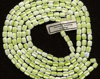 Vintage Green & White Beads 6mm Textured Glass Made in W. Germany 32 Pcs.