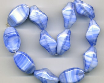Vintage Blue & White Beads 24mm Opaque Glass Unusual Shape 12 Pcs.