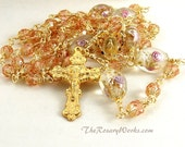 Wedding Rosary Miraculous Medal Rosaline Pink Peach Flower Lampwork Wire Wrapped Unbreakable