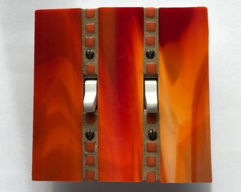 Orange Stained Glass, Light Switch Cover, Wall Switchplate, Light Switch Plate, Double Toggle Switch, Glass Art, Orange Glass, 8428