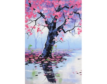 PINK WALL ART Tree Paintings River landscape painting by Graham gercken