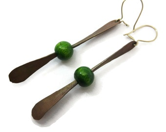 Mid Century Modern Earrings - Long Dangles, Wood Beads and Copper, Costume Jewelry