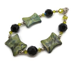 Art Glass Bracelet - Beaded Jewelry, Sterling Silver