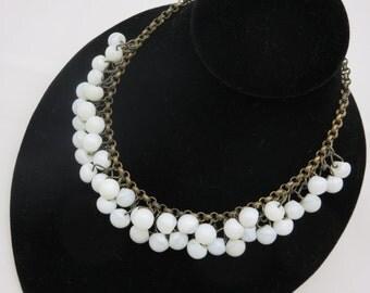 Milk Glass Fringe Necklace - Vintage, Beads