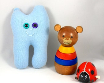 SALE* Tooth Monster OLLIE : Free Worldwide Shipping, Gus and Ollie, baby blue, handmade, plush toy softie.