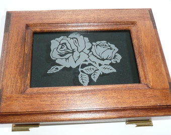 Poplar wood Music Box with Etched Rose