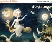ON SALE The Merriest Witch Print- witch art witch's cat art flying broomstick print children's room, children fantasy art  night landscape f