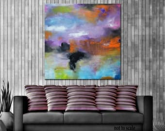 Abstract Painting, Large Blue Purple Abstract,  Abstract Original Painting, Blue painting, Orange purple art, large abstract painting