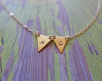 hand stamped gold pennant necklace