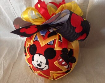 Mickey Mouse Ornament Quilted Christmas Ornament Disney Inspired Birthday Gift