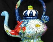 CERAMIC TEAPOT Hand painted Decorative Functional  Female Face Impressionistic Flowers, on Etsy
