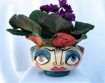 African Violet Flower Pot Self Watering Ceramic 2 Piece Impressionistic Face and Flowers on Etsy