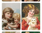 Self Adhesive Victorian Children Cats 1 Sheet Colorful Scrapbooking Stickers  Number Y186