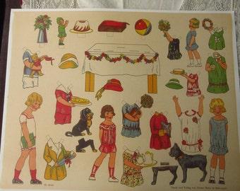 Germany Reprint Circa 1925 Paper Dolls Children Jumbo Sheet