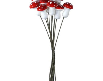 Spun Cotton Mushrooms Czech Republic 10 Woodland Lacquered Mushrooms  MU-113 R