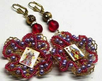 Baroque King & Queen of HEARTS Beaded Statement EARRINGS Wedding Engagement Miriam Haskell Cross Lace Filigrees Red Rose Purple Glass Pearl