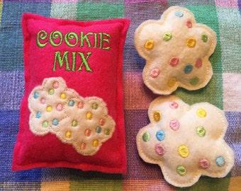Felt Food Cookie Mix Package and 2 Sugar Cookies