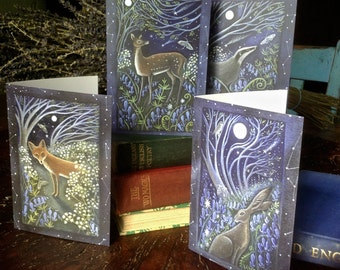 Midnight in the wood. Pack of 4 Greeting Cards With Envelopes.