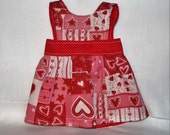 """American Girl/18"""" Doll Reversible Apron or Pinafore in Valentine and Red/White Polka Dot Fabric FREE SHIPPING"""