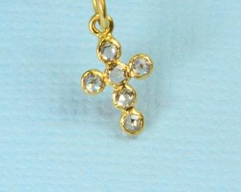 6.6x11mm 18k Solid Yellow Gold Rose Cut Champagne Diamond Cross Charm Pendant