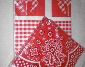 Bandanna and Red Check Tulip Paper Table Cloth and Napkins