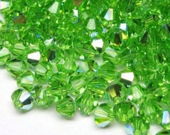 Peridot AB 4mm Bicone Crystals 144 count