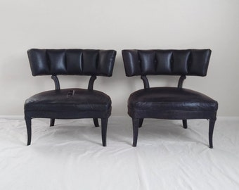2 HOLLYWOOD REGENCY tufted channel back slipper chairs