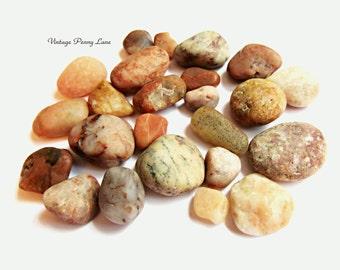 Lot Small Peach / Pink Beach Pebbles, Rocks, Stones, Lake Ontario